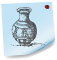 drawing of jar on sticky paper vector image vector image