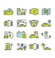 electric car outine icons set vector image vector image