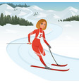 girl athlete taking part in skiing competition vector image
