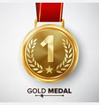 gold medal metal realistic first placement vector image vector image
