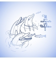 Graphic feeding dolphins vector image