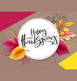 Greeting thanksgiving banner with hand