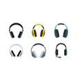 headphones icon set flat style vector image