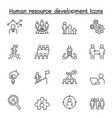 human resource development icon set in thin line vector image vector image