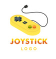joystick logo yellow retro joystick image vector image