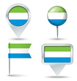 Map pins with flag of Sierra Leone vector image