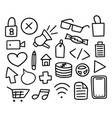 mega collection doodle items set hand-drawn vector image vector image