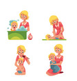 mother washing baby in bath putting diaper on vector image vector image