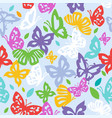 multicolored butterflies on a light background vector image vector image