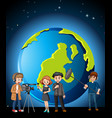 news reporter and photographer with globe vector image