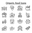 organic food icon set in thin line style vector image