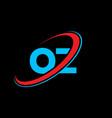 oz o z letter logo design initial letter oz vector image vector image
