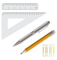pencil pen and rulers vector image vector image