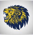 roaring lion logo blue yellow template vector image vector image