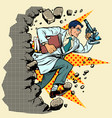 scientist with microscope breaks a wall destroys vector image vector image