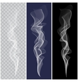set realistic white smoke vector image vector image