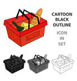 shopping basket full of groceries icon in cartoon vector image vector image