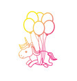 silhouette beauty unicorn with balloons decoration vector image vector image