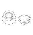 sketch bowl of powder cup of mathca tea vector image vector image