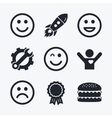 Smile icons Happy sad and wink faces vector image vector image