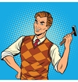 Smiling man with a hammer home repairs vector image vector image