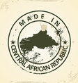 Stamp with map of Central African Republic vector image vector image