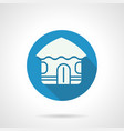 tropical hut flat round icon vector image