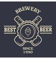 two bottles beer vintage emblem vector image vector image