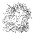 unicorn coloring book hand vector image
