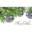 vintage card with christmas balls on fir tree vector image