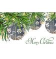 vintage card with christmas balls on fir tree vector image