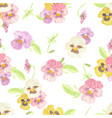 watercolor pansy flower seamless pattern on white vector image vector image