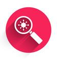 White virus under magnifying glass icon isolated