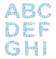Alphabet from snowflakes vector image