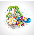 summer holiday design with palm trees vector image