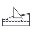 yacht on sea beach vacation line icon vector image