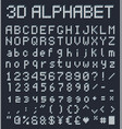 3d pixel alphabet retro game style font vector image vector image