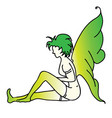 absinthe green fairy wings folded sat quietly vector image vector image
