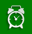 alarm clock sign paper whitish icon with vector image vector image