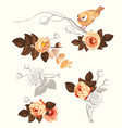 Autumn bird flower branch watercolor decoration