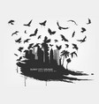 Black spot watercolors flying birds from city vector image