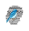 Blue bird on the ethnic background vector image