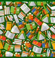 book seamless pattern on green vector image