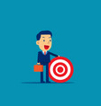 business man holding target to success concept vector image vector image