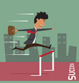 businessman run with jumping over hurdle business vector image