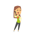 businesswoman character in formal wear talking on vector image vector image