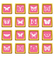 butterfly icons pink vector image vector image