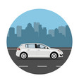 car on city background vector image vector image
