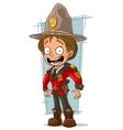Cartoon canadian ranger in red uniform vector image vector image