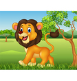 Cartoon funny lion walking in jungle background vector image vector image